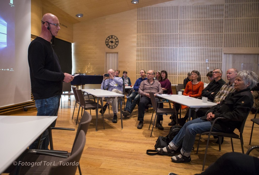 Ulf Hägglund VD på Jokkmokks utvecklingsbolag Strukturum föreläser om naturen och kulturens potential för näringslivet i kommunen.