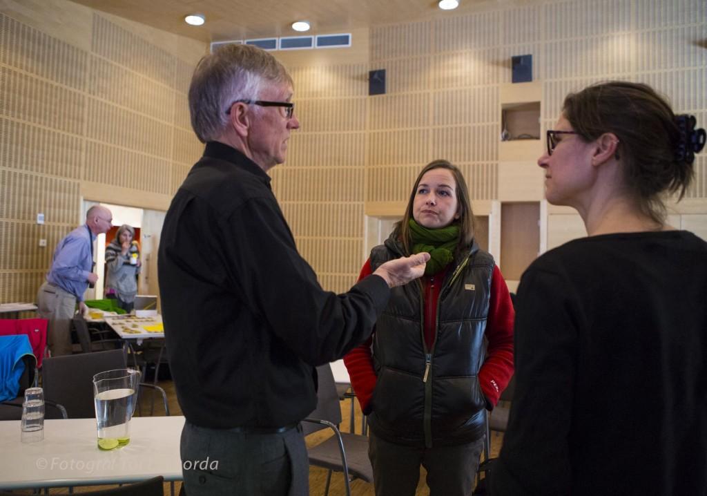 Lars Ture Lindholm, Isabella Katsimenis och Johanna Sandahl samtalar.